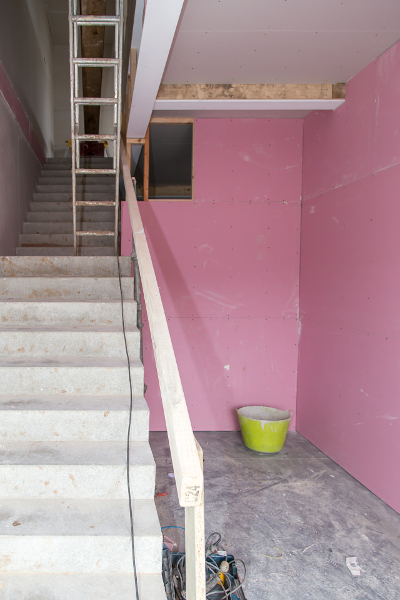 entrance way building work completed, partition boarded ready for cableling